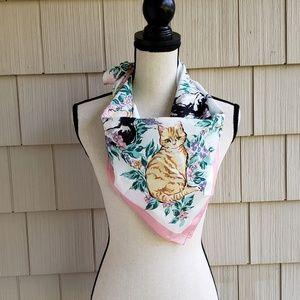 Vintage cat butterfly print rolled hem silk scarf